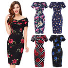 Womens 50s Pinup Off Shoulder Floral Party Wiggle Pencil Dress Cocktail Bodycon