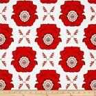 MOD STUDIOS MAIN FLORAL RED RILEY BLAKE QUILT SEWING FABRIC Free Oz Post