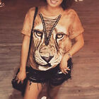 Women 3D Tiger Print T-Shirt Cross Bandage Casual Club Party Loose Top Blouse