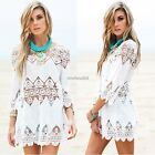 Women 3/4 Flare Sleeve Hollow Out Floral Lace Summer Beach Bikini Cover Up N4U8