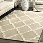 nuLOOM Hand Made Modern Geometric Trellis Wool Area Rug in Beige and Tan