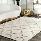 nuLOOM Hand Made Contemporary Geometric Trellis Wool Area Rug Cream and Nickel