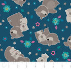 MAMA & ME BEAR BABY CAMELOT BLUE KIDS NOVELTY QUILT SEWING FABRIC Free Oz Post