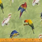 RAINFOREST PARROTS BIRDS WINDHAM QUILT SEWING FABRIC Free Oz Post