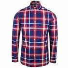 FRED PERRY SHIRT BOLD MENS ENGLAND RED LONG SLEEVE CHECK TOP