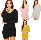 Womens Lurex Cable Knitted Jumper Dress Ladies Off Shoulder Long Sleeve Top 8-14