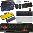 Wireless/Wired QWERTY Gaming Keyboard & Mouse For PC Computer Laptop Win 7 8 10