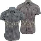 Mens Crosshatch Wavy Leaf Print Check Lined Shirt Cotton Trendy Soft Casual Top