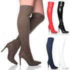 WOMENS LADIES HIGH HEEL POINTED OVER THE KNEE STRETCH THIGH BOOTS SIZE