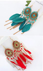 """4"""" OVAL METAL GOLD TONE DROP CHAIN RED OR TURQUPOSE BEAD AND FEATHER EARRINGS"""