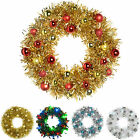 Pre-Lit Tinsel Wreath Baubles LED Christmas Decoration White Silver Red Gold