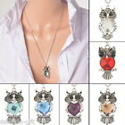 2017 New Fashion Silver Tone Owl Pendant Necklace Necklace Black Eye