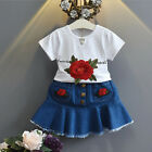 Toddler Kids Baby Girls Summer Outfit Clothes Embroidery T-Shirt+Denim Skirt Set