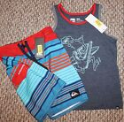 New! Boys Quiksliver Outfit (Shirt, Striped Swim Boardshorts; Blue/Gray)- Size 4