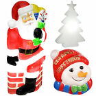 Pre-Lit 3D Molded Snowman Head Tree Santa Chimney Garden Christmas Decoration