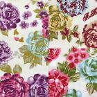 """Floral Polycotton Fabric Eclipse Roses Flower Material 114cm / 45"""" Wide"""