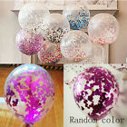 "2Pcs 12"" Latex Clear Confetti Filled Balloons Birthday Party Wedding Decorations"