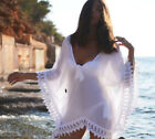US Women Beachwear Swimwear Bikini Beach Wear White Lace Blouse Summer Dress HX