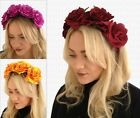Day of the Dead GOTHIC Large ROSES Flower GARLAND Headband HALLOWEEN 7 Colours