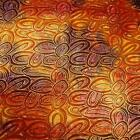 African Inspired Rust, Red, & Gold Batik Etched in Metallic Gold, Cotton Fabric