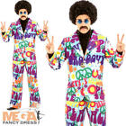 Groovy Hippie Suit Mens Fancy Dress 1970s 70s 60s Peace Hippy Adults Costume New