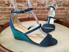 Twiggy London Blue & Green Ankle Strap Wedge Heeled Sandal New