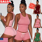 New Women Sleeveless Vest T-Shirt + Short Pants Outfits Tracksuit Sportswear Set