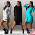Womens Hoodie Jumper Dress Plus Size Hooded Sweatshirts Casual Pullover Long Top