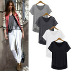 Women's Lady Loose Short Sleeve Cotton Casual Blouse Shirt Tops Fashion Blouse