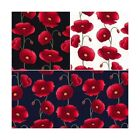 Penkridge Poppy Flowers Floral Poppies 100% Cotton Poplin Fabric