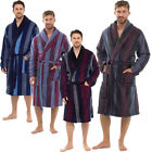 Mens Raiken Stripe Soft Fleece Lounge Dressing Gown Belted Winter Bath Robe