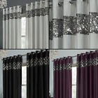 Sequin Sparkle Rio Faux Silk Eyelet Ring Top Curtains Black Silver Grey Purple