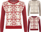 New Womens Round Neck Long Sleeve Knitted Fox Pattern Top Sweater Ladies Jumper