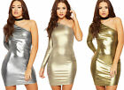 Womens Metallic Ruched Mini Dress Ladies One Off Shoulder Asymmetric Long Sleeve