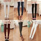 Women Fashion Warm Thigh High Socks Ribbed Cable Knit Solid Lace EN24H02