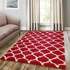 Large Modern Moroccan Red Trellis Shaggy Carpet Contemporary Area Rug 5CM Fluffy
