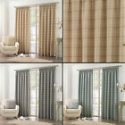 "BURTON CHECK STRIPED 3"" TAPE TOP LINED PAIR READY MADE CURTAINS GREY BLUE CREAM"