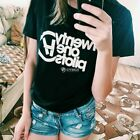 Women Casual Short Sleeve Letter Print T-Shirt Top Tees DZ8802