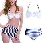 Women Sexy Stripe High Waist Swimsuit Swimwear Bathing Push Up Padded Bra Bikini