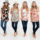 Hot* Stylish Women Tops Floral Print  Cold Shoulder Female Casual Blouse T shirt