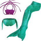 Swimmable Mermaid Tails 3PCS Or 4PCS(With Monofin)Shinning Swimsuit Gift For Kid