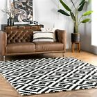 nuLOOM Hand Made Contemporary Geometric Wool Area Rug in Black and Off White