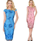 Womens Elegant 3D Flower Embroidery Party Evening Mother of Bride Bodycon Dress