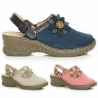 WOMENS LADIES MID BLOCK WEDGE HEEL FLOWER COMFORT SLINGBACK CLOGS MULES SANDALS