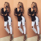 Fashion Womens Hollow Long Sleeve Shirt Casual Blouse Loose Cotton Tops T Shirt