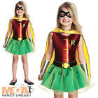 Robin Girls Fancy Dress Superhero Batman Comic Book Kids Childrens Child Costume