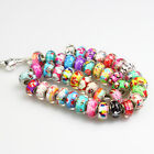 5 Pieces Murano Glass Lampwork Silver Big Hole Bead Fit European Charm Bracelet