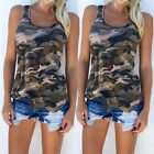 US 2017 Women Casual Army Camo Camouflage Tank Top Sleeveless O-neck Slim Shirt