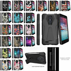 For ZTE Carry Z981 Hybrid Dual Layer Shell Shock Impact Case Kickstand