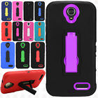 For ZTE ZMAX Champ Z917VL IMPACT Hard Rubber Kickstand Case Cover +Screen Guard